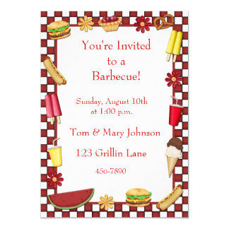 Barbecue Picnic Border Red 13 Cm X 18 Cm Invitation Card