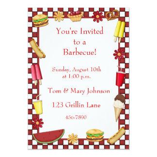 """Barbecue Picnic Border Red 5"""" X 7"""" Invitation Card"""
