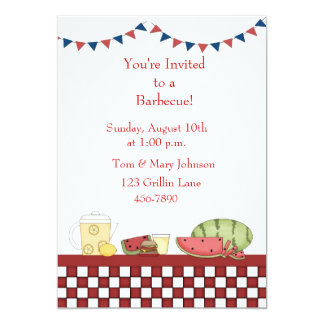 Barbecue Picnic Checkered Border 13 Cm X 18 Cm Invitation Card