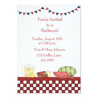 Barbecue Picnic Checkered Border Personalized Invites
