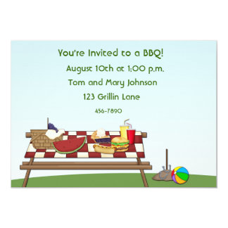 Barbecue Picnic Table 13 Cm X 18 Cm Invitation Card