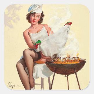 Barbecue Pin-Up Girl Square Sticker