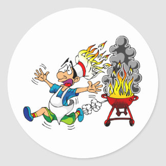 Barbecue pit master grill bbq smoker round sticker