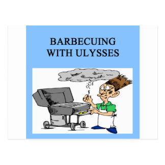 barbecueing with ulysses post card