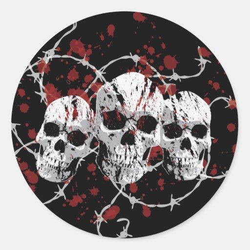 Barbed Skulls Stickers