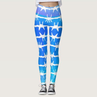Barbed Wire Blue Ombre Leggings