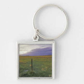 Barbed Wire Fenceline in northeastern Montana Silver-Colored Square Key Ring