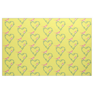 Barbed Wire Heart Birds Fabric