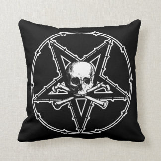 Barbed Wire Skull Pentagram Goth Throw Pillow