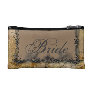 barbed wire western country bride cosmetic bags
