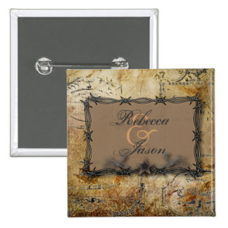 barbed wire western country wedding favor 15 cm square badge