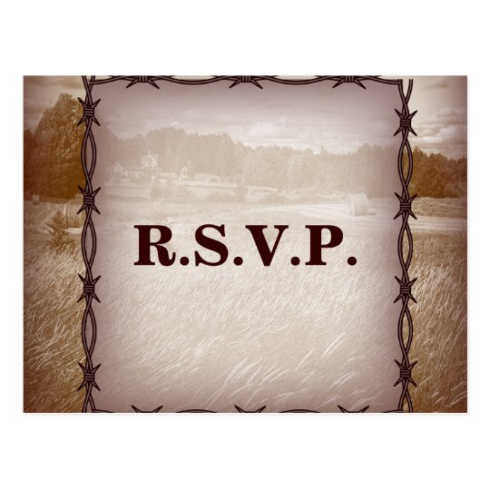 barbed wire western country wedding response RSVP Postcard