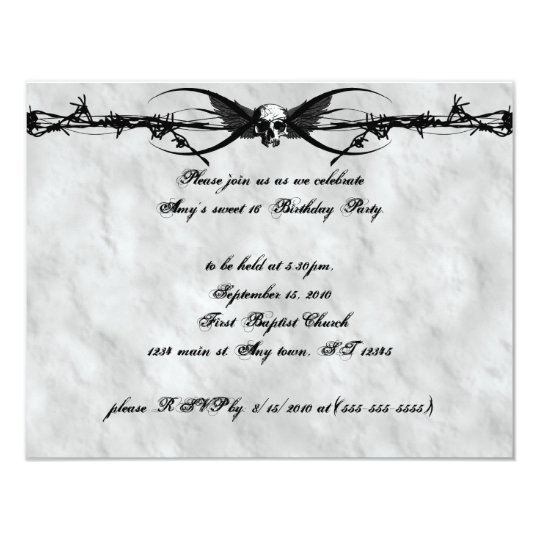 Barbed Wire Winged Skull Cyber Goth Invitations