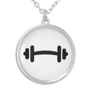 Barbell dumbbell training round pendant necklace