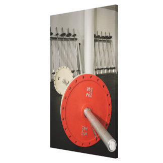 Barbell in gym canvas print