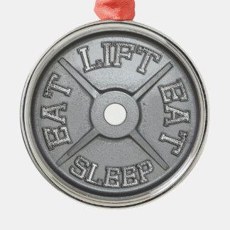 Barbell Plate - Lift, Eat, Sleep Christmas Ornament