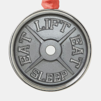 Barbell Plate - Lift, Eat, Sleep Silver-Colored Round Decoration