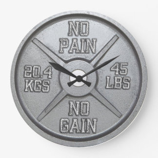 Barbell Plate Wall Clock - No Pain No Gain