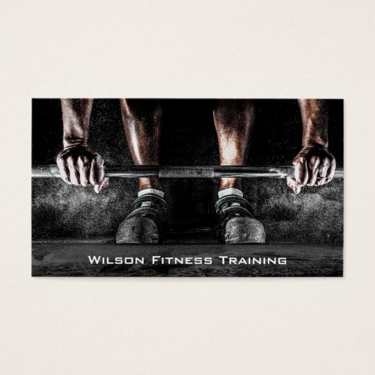 Barbell Weight Lifter Fitness Photo Business Card