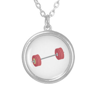 Barbells Round Pendant Necklace