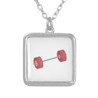 Barbells Square Pendant Necklace