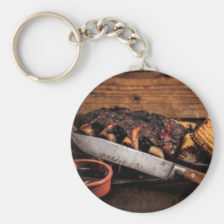 Barbequed beef ribs and corn. keychain