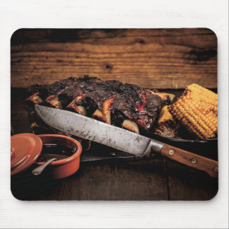 Barbequed beef ribs and corn. mouse mat