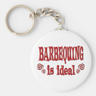 Barbequing is Ideal Basic Round Button Key Ring