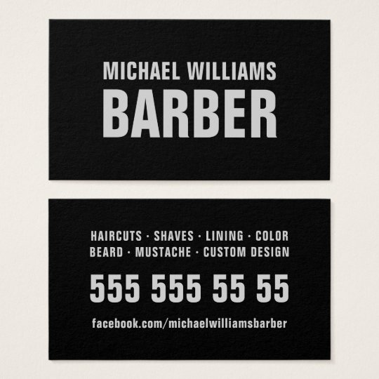 Barber Black Grey Bold Typography Business Card