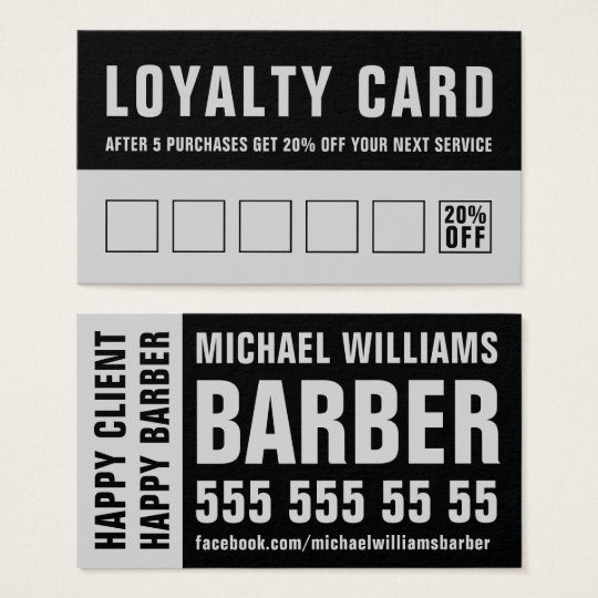 Barber Black Grey Bold Typography Loyalty Card
