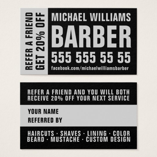 Barber Black Grey Bold Typography Referral Card