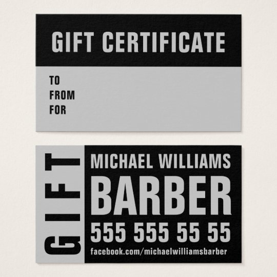 Barber Black Grey Typography Gift Sertificate Card