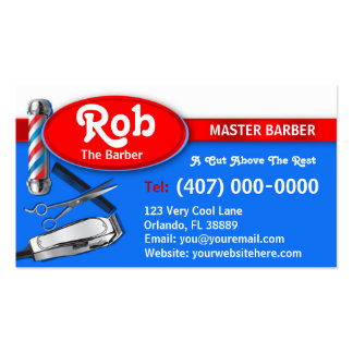 Barber Business Card (Barber pole and clippers) Business Card Template