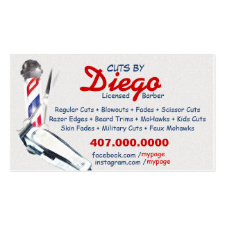 Barber Business Card (Barber pole & shears)