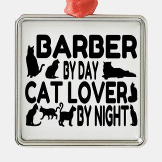 Barber Cat Lover Silver-Colored Square Decoration