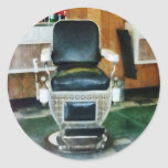 Barber Chair Front View Round Stickers