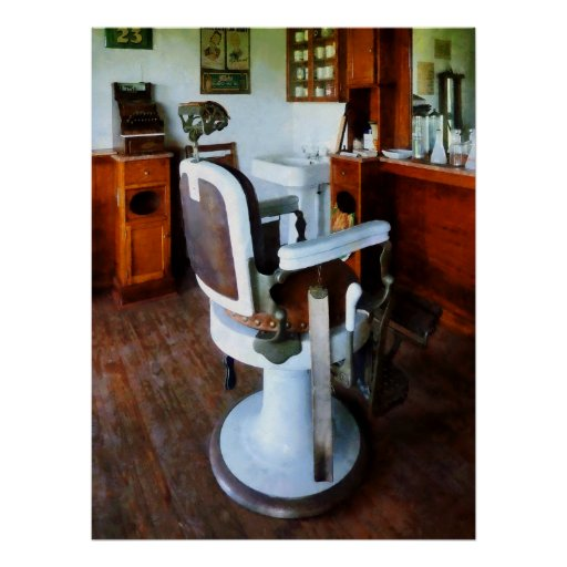 Barber Chair with Cash Register Poster