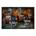 Barber - Frenchtown, NJ - Two old barber chairs Print
