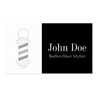 Barber/Hair Stylist Black White Business Cards