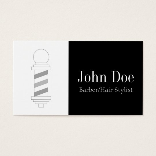 Barber/Hair Stylist Black White Business Card