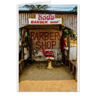 Barber 'Hut' in Laos. Greeting Card