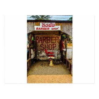 Barber 'Hut' in Laos. Postcard