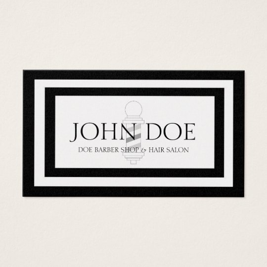 Barber Pole Hair Stylist Black Borders Gold Paper Business Card