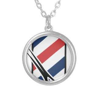 barber pole round pendant necklace