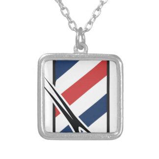 barber pole square pendant necklace