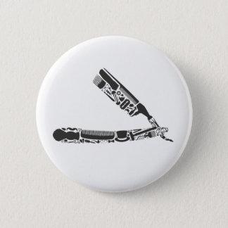 barber razor icons 6 cm round badge