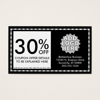 barber razor icons coupon card