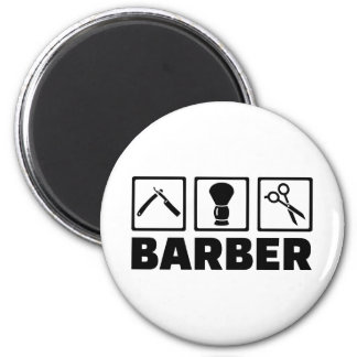 Barber set 6 cm round magnet