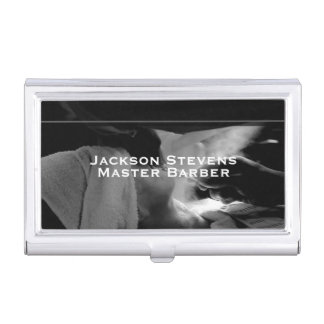 Barber Shave Straight Edge Razor Photograph Business Card Holder