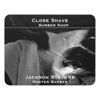 Barber Shave Straight Edge Razor Photograph Door Sign